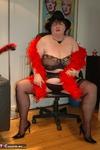 Chris 44G. Black Silk Stockings & Suspenders Free Pic 5
