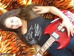 DeniseDavies. Electric Guitar Striptease Free Pic 2