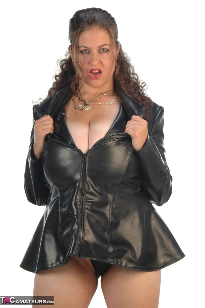 Denisedavies-Black Leather Jacket-Tits And Stockings Pictures-9855