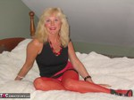 Ruth. Red Fishnet Tights Free Pic