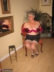GirdleGoddess. Sheer Stockings & Satin Red Bra Free Pic 13