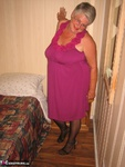 GirdleGoddess. Purple Dress & Mauve Corset Free Pic 3