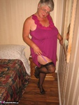 GirdleGoddess. Purple Dress & Mauve Corset Free Pic 4