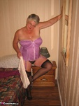 GirdleGoddess. Purple Dress & Mauve Corset Free Pic 8