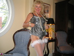 Ruth. Black Shiny Dress White Feathers Free Pic 4
