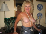 Ruth. Black Shiny Dress White Feathers Free Pic 9
