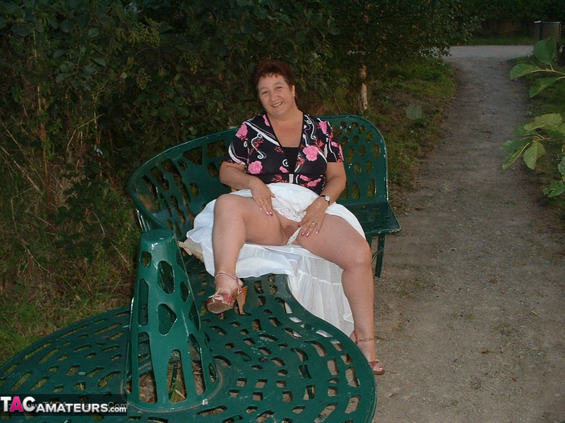 Mature wife exposing herself outdoors