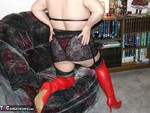 KinkyCarol. Red Thigh Boots & Stockings Free Pic 9