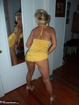 JoleneDevil. Chequered panties and little yellow dress Free Pic 2
