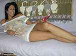 LavenderRayne. White Fishnet Top & Big Red Dildo Free Pic 1