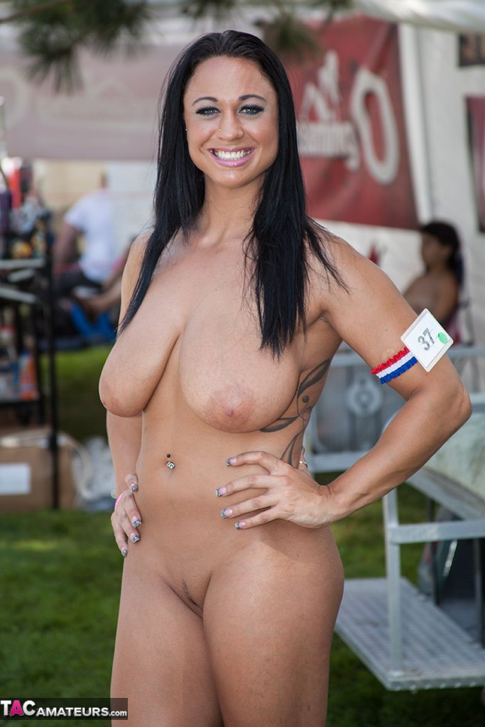 black hair girl topless