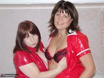 Sandy. PVC and boots lesbian fun with Annes cannons Free Pic 1