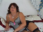 Sandy. Sheer black stockings and a huge dildo Free Pic 4
