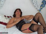 Sandy. Sheer black stockings and a huge dildo Free Pic 11