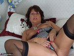 Sandy. Sheer black stockings and a huge dildo Free Pic 12