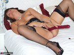Sandy. Sheer black stockings and a huge dildo Free Pic 20