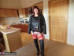 Barby. Thigh High & Biker Jacket Flashing Free Pic 2
