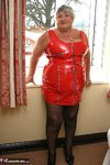 GrandmaLibby. Tight Red PVC Free Pic 1