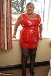 Grandma Libby. Tight Red PVC Free Pic 1