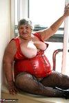 Grandma Libby. Tight Red PVC Free Pic 5