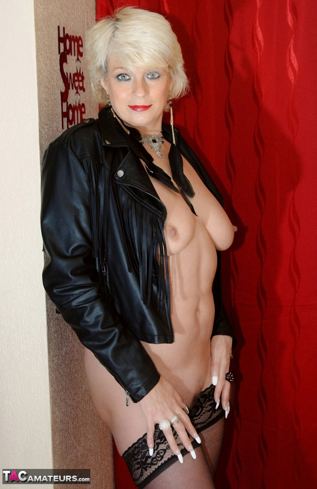 Sexy mature milfs in leather skirt