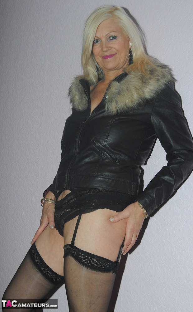 leather coat and lingerie