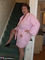 KinkyCarol. Pink Dressing Gown With Black Nightie Pt1 Free Pic 2