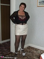 KinkyCarol. Leather Mini & Body Stocking Free Pic 2