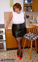CurvyClaire. Kitchen Leather Mini Pt1 Free Pic 1