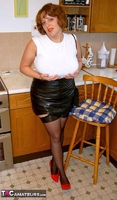 CurvyClaire. Kitchen Leather Mini Pt1 Free Pic 3