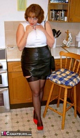 CurvyClaire. Kitchen Leather Mini Pt1 Free Pic 4
