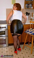 CurvyClaire. Kitchen Leather Mini Pt1 Free Pic 6