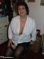 KinkyCarol. Stockings & White Blouse Free Pic 4
