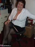 KinkyCarol. Stockings & White Blouse Free Pic 6