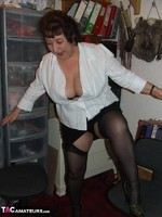 KinkyCarol. Stockings & White Blouse Free Pic 7
