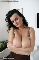 Busty Reny. Big boobs on white table Free Pic 13