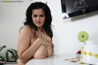 Busty Reny. Big boobs on white table pt2 Free Pic 11