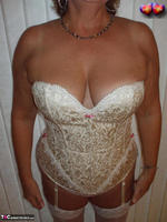 BustyBliss. Cream Embriodered Busty Corset Free Pic 9
