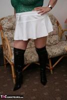 Kinky Carol. White Mini Skirt & PVC Thigh Boots Pt1 Free Pic 14