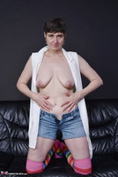 Hot Milf. Pussy Show In Stripped Socks Free Pic 10