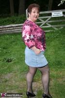 Kinky Carol. Denim Mini & Stockings Pt1 Free Pic 3