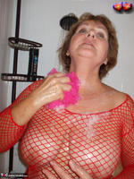 Busty Bliss. Busty Bliss Gets Red Net Body Stocking Soapy & Sudzy Free Pic 7