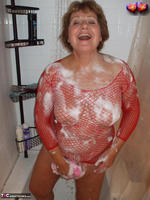 Busty Bliss. Busty Bliss Gets Red Net Body Stocking Soapy & Sudzy Free Pic 10