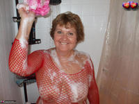 Busty Bliss. Busty Bliss Gets Red Net Body Stocking Soapy & Sudzy Free Pic 16
