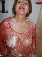 Busty Bliss. Busty Bliss Gets Red Net Body Stocking Soapy & Sudzy Free Pic 17