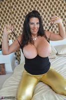 LuLu Lush. Shiny Gold Skintight Leggings Free Pic 7