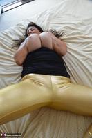 LuLu Lush. Shiny Gold Skintight Leggings Free Pic 12