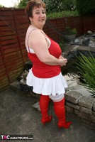 Kinky Carol. Red & White Boots & Stockings Pt1 Free Pic 7