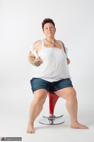 Tattoo Girl. Red Stool Free Pic 5