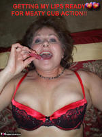 Busty Bliss. Red & Black Laced Bra & Hot Cock Sucking Free Pic 1